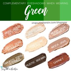 Wondering what eyeshadow colors to wear with Green clothing?  Let SeneGence ShadowSense help.  Shadowsense is non-smudging, budging and will LAST all day long on your eyes.  Click here to shop and grab your own!  #shadowsense #senegence