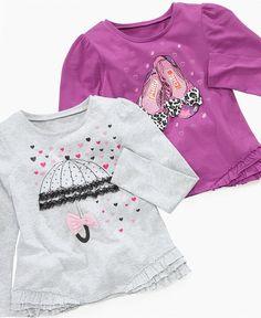 So Jenni Kids T-Shirt, Little Girls Long-Sleeve Ruffle Tees - Kids - Macy's