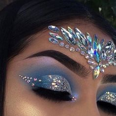 Eye makeup, gem makeup, jewel makeup, rave makeup, mermaid fantasy make Gem Makeup, Jewel Makeup, Rave Makeup, Makeup Goals, Sparkle Makeup, Exotic Makeup, Peacock Makeup, Cheer Makeup, Makeup Tips