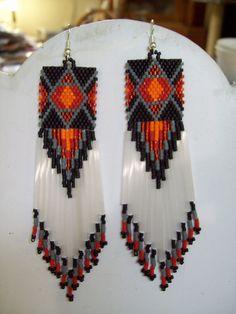 Native American Beaded Diamond Rug Earrings Red, Orange, Grey Black. $35.00, via Etsy.