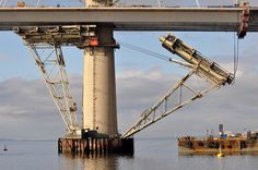 First temporary works being removed from Queensferry Crossing north pylon.