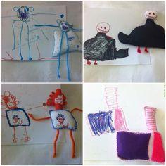 Bonecos em feltro feitos à partir dos desenhos de criança.