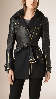 Black Lambskin Wool Cashmere and Shearling Biker Jacket - Image 1