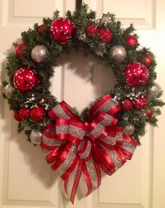 Silver and red  Christmas wreath by Enywear on Etsy, $63.50