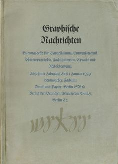 Cover Graphische Nachrichten, 18. Jahrgang, Heft 1, Januar 1939