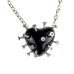 Screwed heart necklace (61 BGN) ❤ liked on Polyvore featuring jewelry, necklaces, accessories, punk necklace, red jewelry, red heart necklace, rockabilly jewelry and gothic necklace