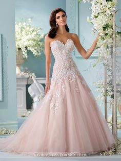 Strapless tulle, organza and hand-beaded embroidered Venise Lace applique over satin full A-line gown, sweetheart neckline with slight sheer accent
