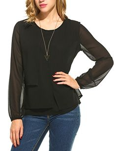 Special Offer: $21.99 amazon.com Meaneor Women's Casual Long Sleeve Blouse Solid Color Chiffon Tops Three stacks chiffon in the front brings out the perfect fit in this playful blouse tops. You can pair it with jeans, shorts, slacks, flare trousers. ALL SIZE CHART(Unit: inch) US S...