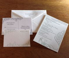 Paul likes letterpressing.  peacock indian wedding invitations by Ajalon