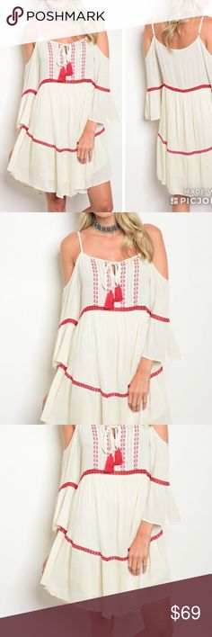 Pre Order Phase! Cream wine embroidery design! 3/4 cold shoulder embroidery detail tunic dress. Beautifully designed super soft Boho Dress. Arriving Wednesday. To be notified upon arrival comment size below.  Fabric Content: 100% RAYON LINING: 100% POLYESTER Size Scale: S-M-L Trend Setter Diva Dresses