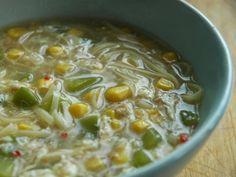 Ten Minute Chicken and Sweetcorn Noodle Soup