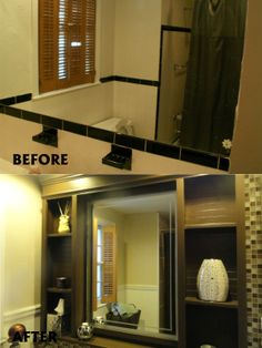 before and after bathroom built ins