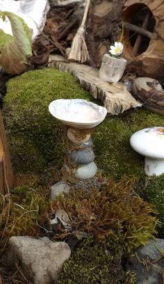 Rock and sea shell bird bath for the fairy garden made by Rebekah Durfee - Fairy Gardens
