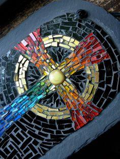Rainbow Mosaic Celtic Cross by Margaret Almon