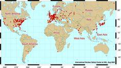 Map of the world's nuclear reactors - La carte des réacteurs nucleaires dans le monde