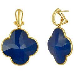 Doublet Lapis Lazuli & Rock Crystal Clover Gold Earrings