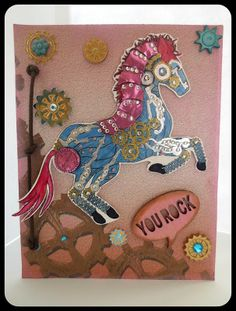 Deborah used Steampunk Horse Digital Stamp and Paper Pack for this awesome card.