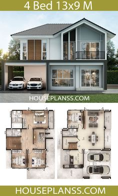 Small Modern House Plans, 3d House Plans, Beautiful House Plans, Model House Plan, 4 Bedroom House Plans, House Layout Plans, Dream House Plans, House Layouts, Three Bedroom House