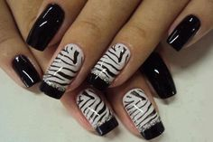 Zebra Nail Art These nails are fun and crazy! This design can make short nails appear longer! and you are sure to get tons of compliments on them! ENJOY If you liked this post, say thanks by sharing itShare this: Comments comments Zebra Nail Art, Zebra Print Nails, White Nail Art, White Nails, Black Nails, Art Nails, Zebra Stripe Nails, White Polish, Pink Nail