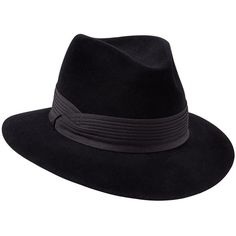 Penmayne of London - Siena Fedora Black Black Pleated Band (10.385 UYU) ❤ liked on Polyvore featuring accessories, hats, band hats, fedora hat and ribbon hat
