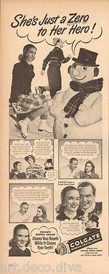 Vintage Funny Snowman Dating Colgate Toothpaste Bad Breath Dentist Dental Ad