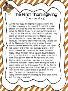 MeGown's Second Grade Safari: The First Thanksgiving. with a focus on Sequencing! Thanksgiving Story For Kids, Thanksgiving History, Thanksgiving Worksheets, Thanksgiving Activities For Kids, Thanksgiving Crafts For Kids, Thanksgiving Parties, Holiday Activities, Thanksgiving Decorations, The Meaning Of Thanksgiving