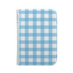 Light Blue Gingham Kindle Case