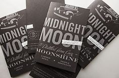 Midnight Moon Moonshine brochure. Loving the use of typography here.