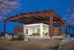 "Lloyd Russell, architect for the ""green"" house on Burns Canyon Road in Pioneertown, refers to his ""handmade modernism"": sharp design and better, affordable construction."