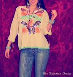 Bohemian top blouse Mexican embroidered huipil sweater hand embroidery OOAK Boho Hippie vintage style by TheBohemianDream
