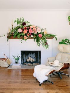 Dramatic Fireplace Mantel Flowers