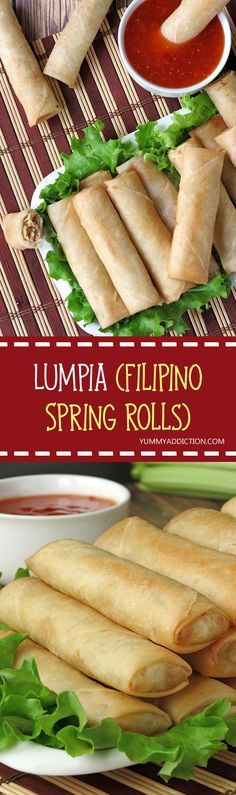 Lumpia or Filipino spring rolls is the traditional Filipino food, similar to fried egg rolls. It's an easy and delicious appetizer for dinner parties or just a snack. Dinner Party Appetizers, Finger Food Appetizers, Yummy Appetizers, Appetizer Recipes, Dinner Parties, Asian Recipes, Ethnic Recipes, Filipino Recipes, Filipino Dishes