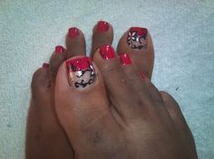 red and black pedicure - Nail Art Gallery by nailsmag.com