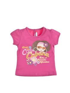 Różowy t-shirt z nadrukiem dla dziewczynki 14 PLN
