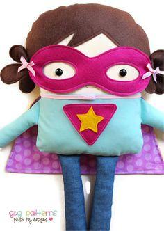 Superhero Sewing Pattern - Supergirl and Superboy Toy Doll Softie Pattern - PDF Sewing Pattern. $10.00, via Etsy.