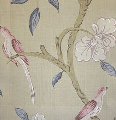 Eleonora Silk Fabric  A beautiful woven silk inspired by eighteenth century Swedish design, of frail branches with prussian blue leaves and white flowers, deep raspberry birds and  on a light taupe background.