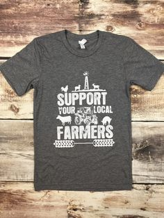 Our exclusive tee. Let everyone know how much you love and support our farmers! Super soft Cotton/Polyester blend tee shirt. You won't want to take it off, but hey we won't judge if you wear it two (o