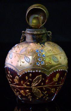 Moser glass perfume bottle, 1800s.