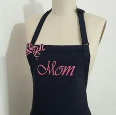 Navy Apron white Fuchsia embroidery thread - Mother's day gift apron - Personalized Mom Apron - Elegant apron - Custom apron . by Wheelering on Etsy