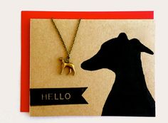 Greyhound Necklace Bronze Whippet Italian Greyhound Copper % to ANIMAL RESCUE Lurcher Pet Sympathy Dog Lover Gift Wrapped Red Recycled Cards