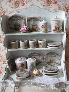 Shabby Cupcake Kitchen Canisters for Dollhouse by ALavenderDilly