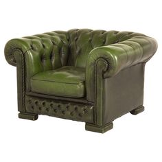 Desinged by Romano Dizayn - Vintage Green Tufted Leather 'Chesterfield' Chair