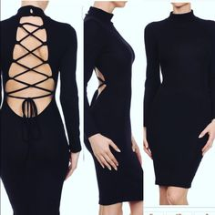 Black Effortlessly Sexy Tie Up Bodycon Dress!!