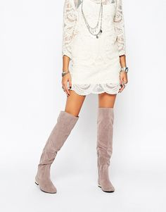 Daisy Street Grey Flat Over The Knee Boots