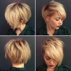 Idée Tendance Coupe & Coiffure Femme 2017/ 2018 : coiffure courte blonde coupe courte asymétrique sur cheveux blonds