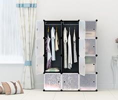 Portable Clothes Closet Wardrobe by CosyhomeFreestanding Storage Organizer with doors  large space and sturdy construction Black12 cube * More info could be found at the image url.