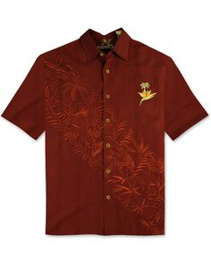Button-Front Tropical Style Embroidered Camp Shirt Bamboo Cay Mens Par and Bar