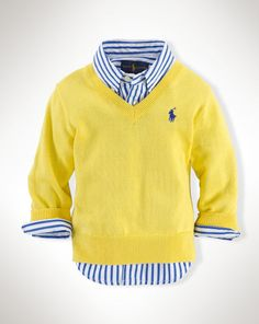 Cotton V-Neck Pullover - Baby Boy Sweaters - RalphLauren.com