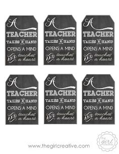 Teacher Appreciation Gift with Free Printable Tag - A Teacher Takes a Hand, Opens a Mind and Touches a Heart - add tag to a bottle of lotion...