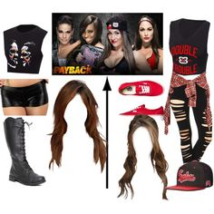 WWE Payback Outfits Naomi and Tamina vs The Bella Twins Wrestling Outfits, Wwe Outfits, Sexy Outfits, Wrestling Party, Wwe Halloween Costume, Wwe Costumes, Halloween Outfits, Nikki Bella Costume, Themed Outfits